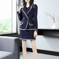 2019 Autumn New Fashion Women Suit Solid Color Double Breasted Long Sleeve Blazer +Mini Skirt Suit Office lady Elegant Set
