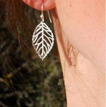 Pendientes de botón Pendientes con forma de hoja grande párr mujer de ganchos para las orejas chapados en plata joyería Simple para fiesta