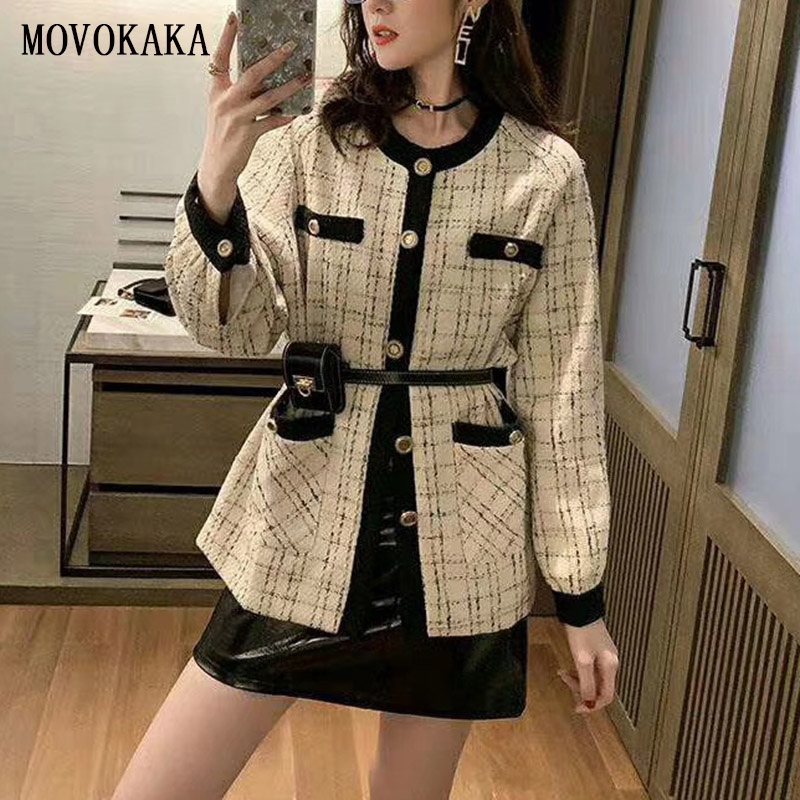 New Fashion Autumn Winter Knit Cardigan Female Vintage Plaid Cardigan Sweater Women Knit Cardigan Women Plus Size Korean Sweater