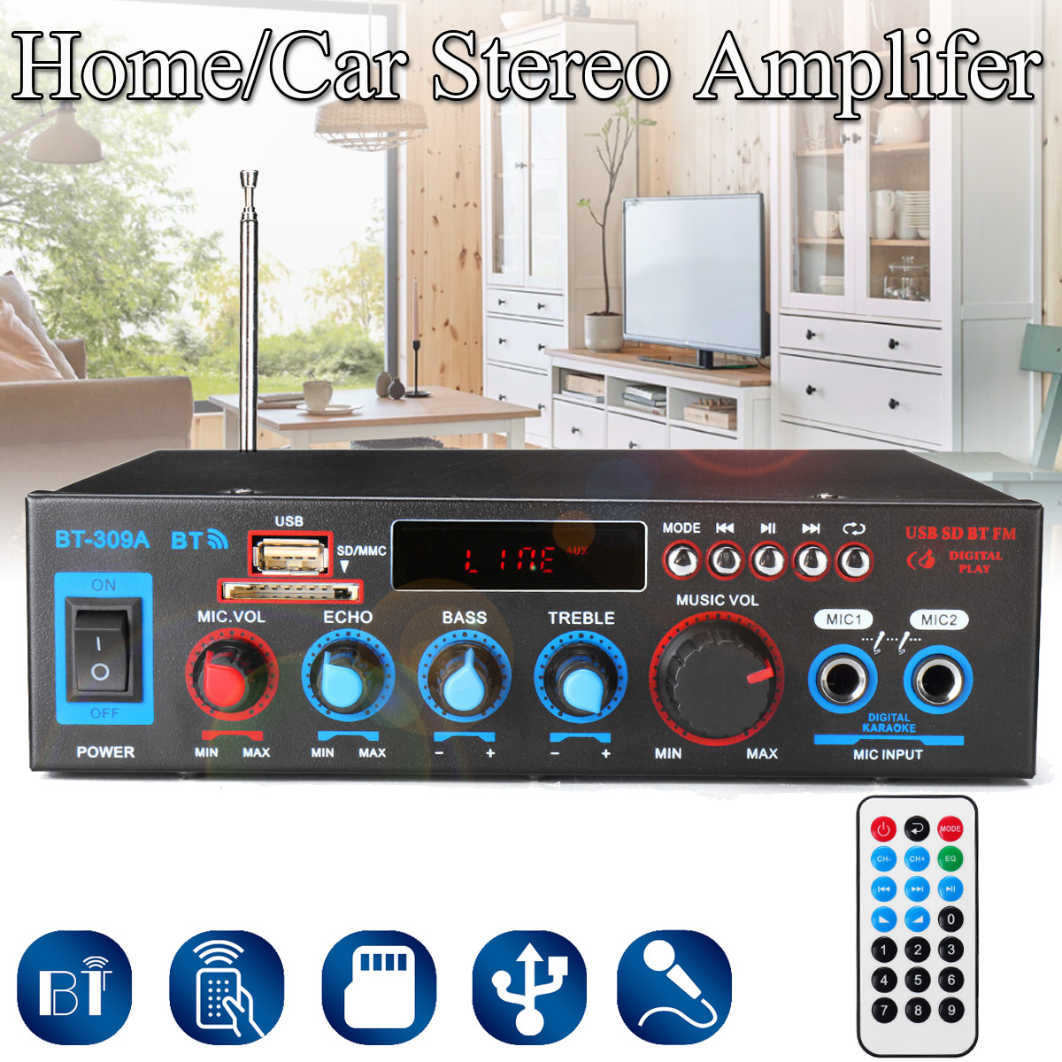 <font><b>HIFI</b></font> 2CH <font><b>800W</b></font> Audio Power <font><b>Amplifier</b></font> 12/220V Home Theater <font><b>Amplifiers</b></font> Audio with Remote Control Support FM USB SD Card bluetooth image