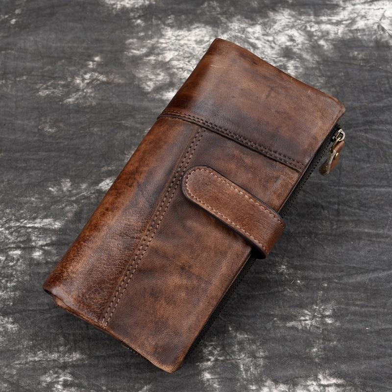 BEAU-BAOERSEN Leather Fashion Stitching Long Wallet New Casual Multi-Card Bit Purse New Retro Men's RIFD Wallets