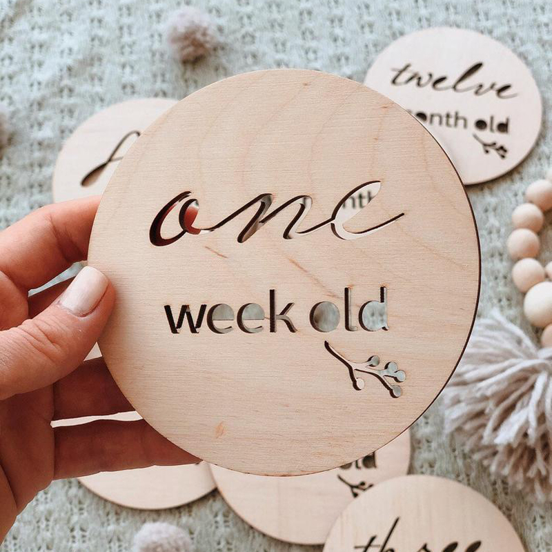 Wooden Baby Milestone Cards, Wooden Keepsakes, Monthly Photo Props, Memory Discs, Natural Wood, Baby Shower Gift, Memories