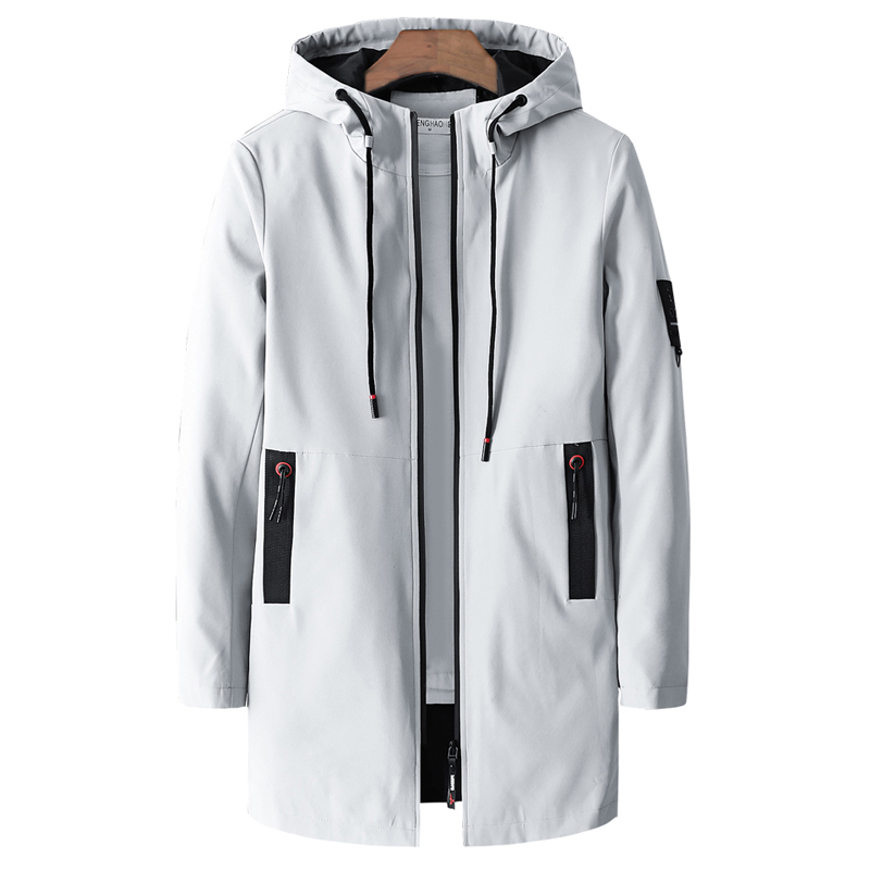 Spring Autumn Casual Long Jacket Men 2020 Plus Size M-5XL Stand Collar Windproof  Jackets Hooded Solid Elastic Windbreaker