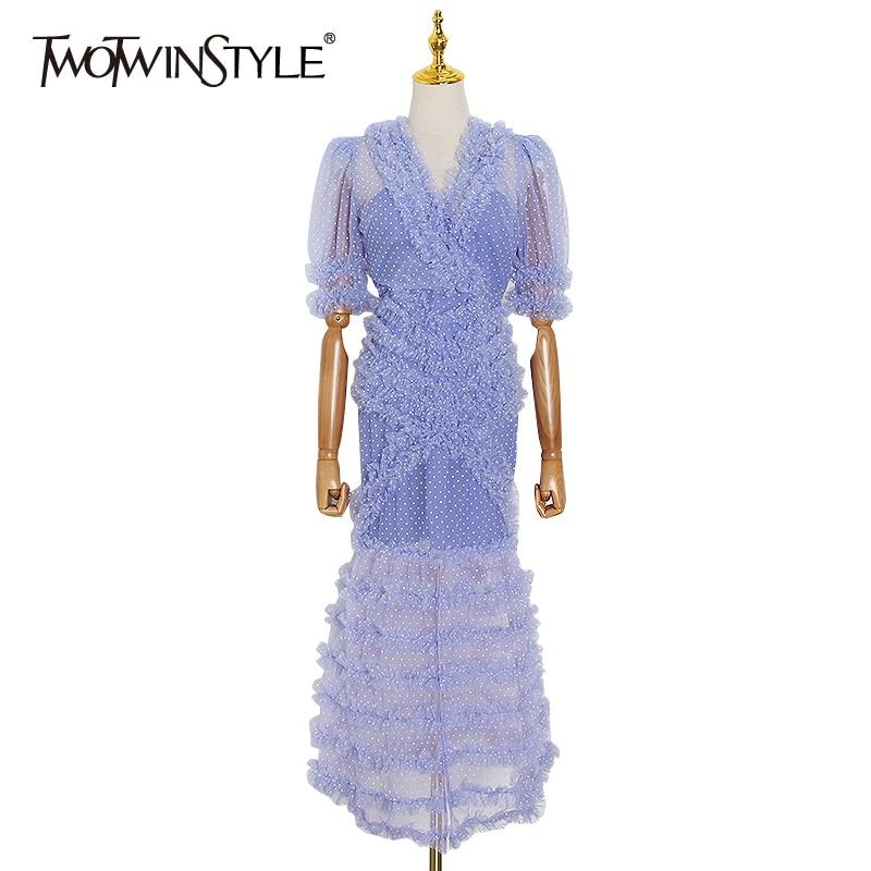 TWOTWINSTYLEPolka Dot Mesh Patchwork Dress For Women V Neck Puff Sleeve Hit Color Lace Elegant Dresses Female 2020 Summer New
