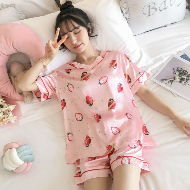 Pajamas Women's V-neck Viscose Summer Sexy Thin Short Sleeve Sexy Model Silk Large Size Homewear Set Women's