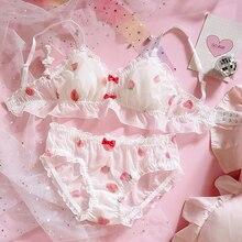 Japanese Cute Strawberry Chiffon Bra & Panties Set Ruffles Trim Wirefree Soft Underwear Sleep Intimates Set Kawaii Lolita Bras
