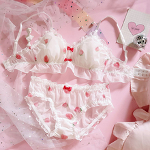 Japanse Leuke Aardbei Chiffon Bh & Panties Set Ruches Trim Wirefree Zachte Ondergoed Slaap Intimates Set Kawaii Lolita Bras