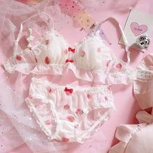 Japonês bonito morango chiffon sutiã & calcinha conjunto babados guarnição wirefree macio roupa interior sono intimate conjunto kawaii lolita sutiãs