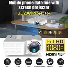 UC28C портативный видеопроектор для домашнего кинотеатра 50 люмен яркость жк-светильник для офиса поддержка смартфонов