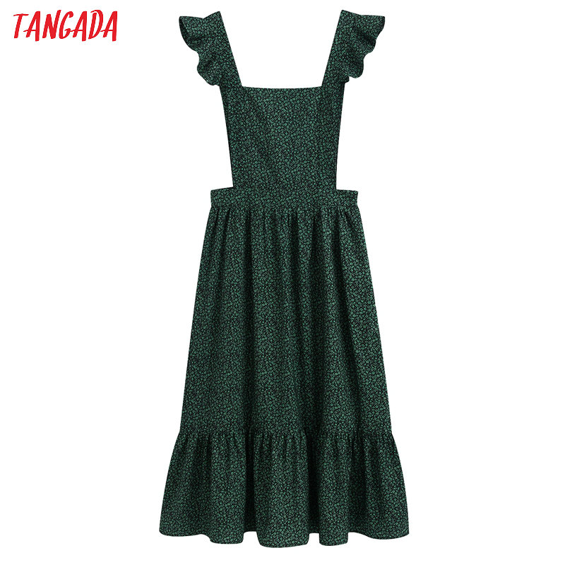 Tangada Fashion Women Green Flowers Print Dress Ruffles Strap Sleeveless Ladies Sexy Backless Midi Dress Vestidos BE156