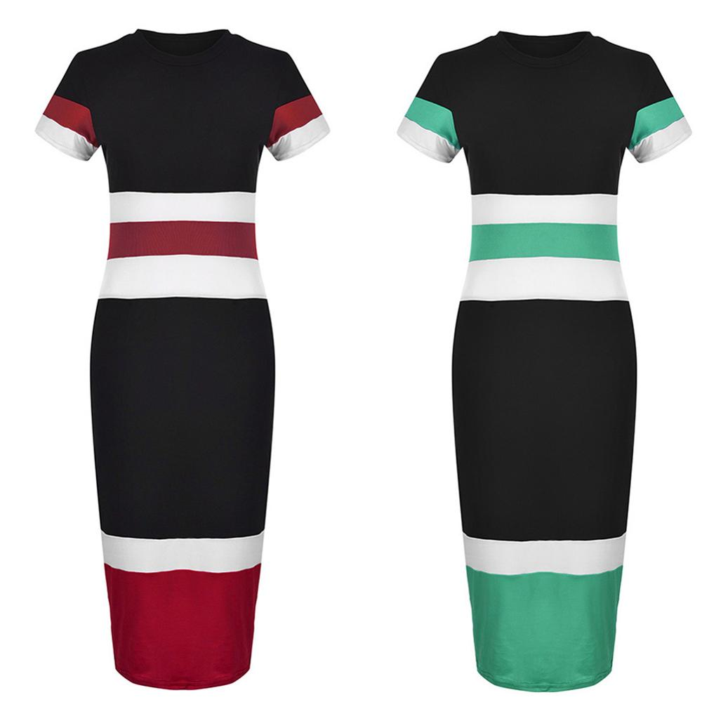 Summer Office Women Fashion Color Block Striped Short Sleeve Bodycon Midi Dress