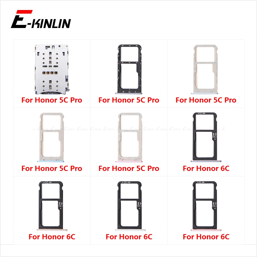 Sim Card Tray Socket Slot Reader Adapter For HuaWei Honor 6C 5C Pro Micro SD Card Holder Connector Container Replacement Parts