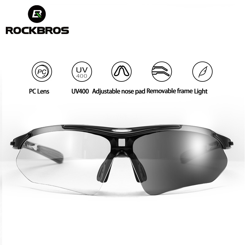 ROCKBROS Photochromic Cycling Eyewear Lightweight Bike Sunglasses Myopia Frame MTB Mountain UV400 Bicycle Goggles Accessories