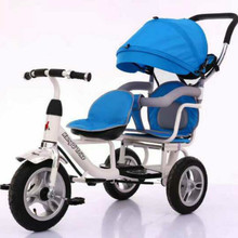 Double kids tricycle 4 in 1 two baby twin bicycles 1-3-5 years old trolleys trick with push handle