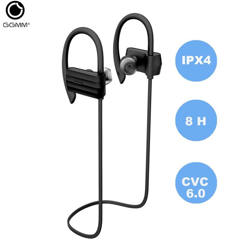 GGMM Bluetooth Wireless Earphone Headphones IPX4 Waterproof Sports Headset With Mic CVC 6.0 Noise Cancelling 8Hours Playing