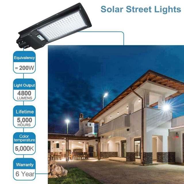 100W/200W LED Outdoor Lighting Wall Lamp Solar Street Light IP67 Solar Powered Remote Radar Motion Light Control for Garden Yard 3