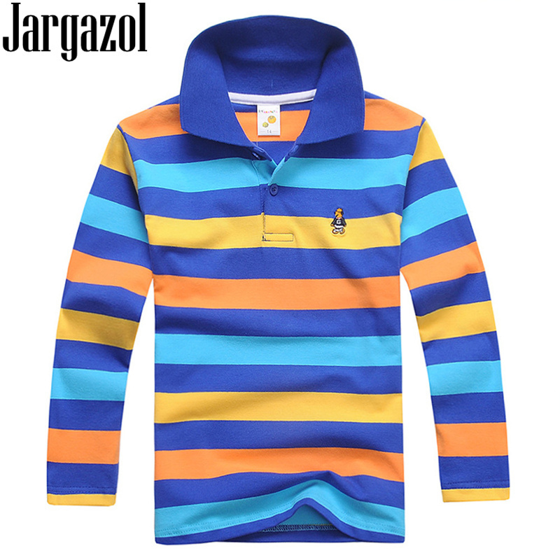 Jargazol Boys Polo Shirts Long Sleeve Autumn Baby Boy Tops Cotton Teenagers Sports Polo Shirts Fashion Stripes Kids Outfits
