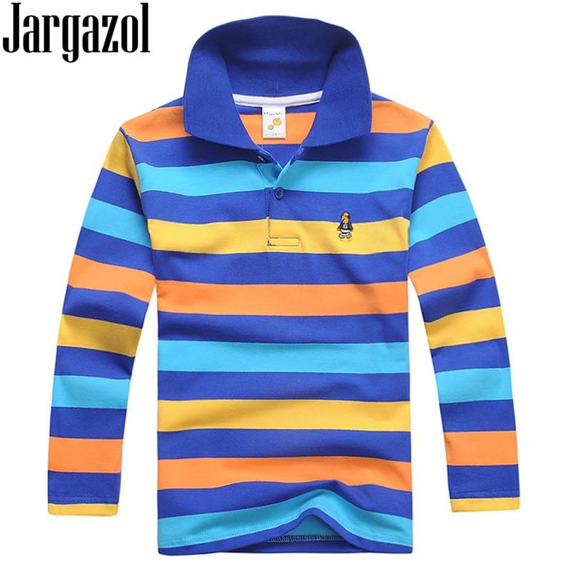 Jargazol Boys Polo Shirts Long Sleeve Autumn Baby Boy Tops Cotton Teenagers Sports Polo Shirts Fashion Stripes Kids Outfits