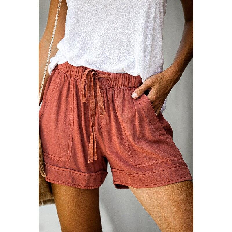 Casual Tencel Shorts Women 2020 Summer New High Waist Bandwidth Loose Wide Leg Pants