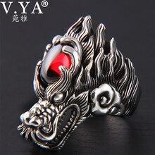 V.YA Big Zircon Stone Dragon Ring for Men Heavy 925 Sterling Silver Male Rings Homme Fashion Punk Jewelry