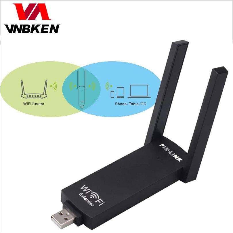 Беспроводной Wifi ретранслятор PIX-LINK USB диапазон 300 Мбит/с усилитель сигнала двойная антенна Wifi BoosterWiFi расширитель диапазона