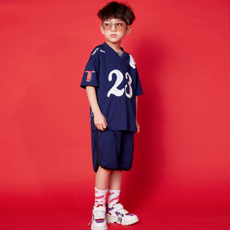 2019 Street Wear Kids Dance Clothing Ooys Blue Basketball Suit Sport Wear Children's Ropa Hip Hop Dance Costumes Kids BL1966