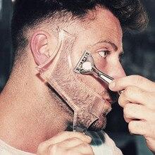 Perfeita barba pente para cuidados com o rosto dos homens transparente preto estêncil pente shaper para barba estilo barba shaping ferramenta forro modelo
