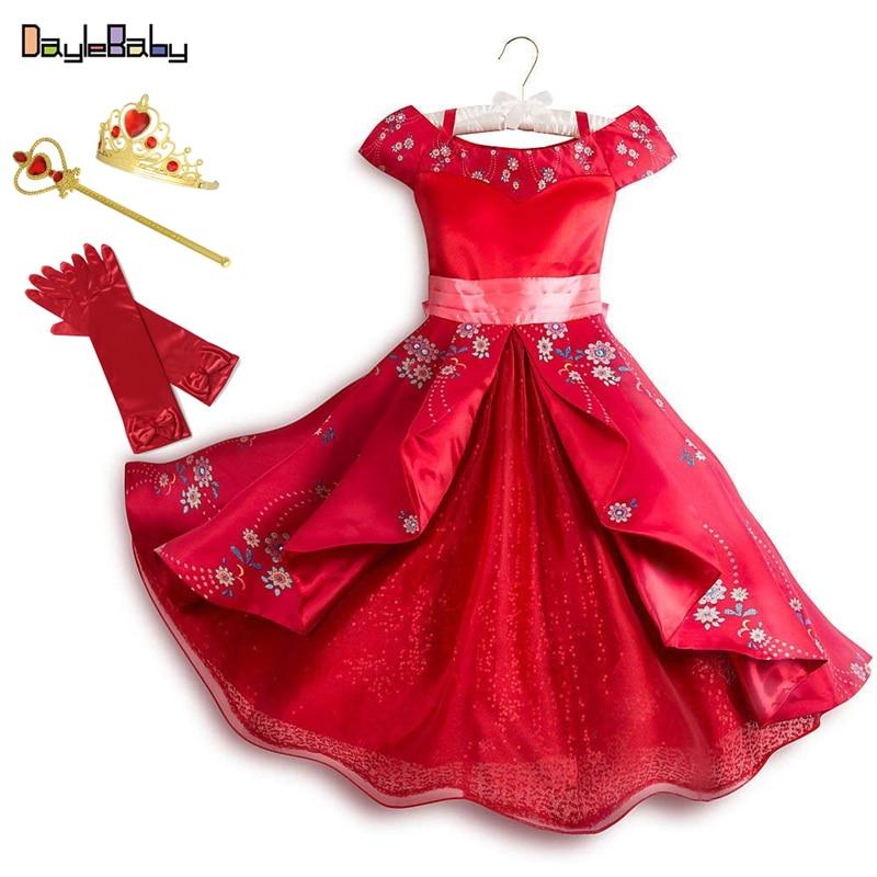 Fantasia clássica Elena de Avalor, vestido de aventura de Elena, primavera e verão, vestidos de meninas, ombro único, vestidos de princesas