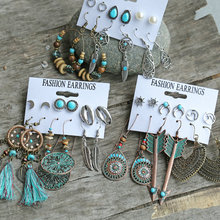 Shell feather earring set 6 pairs creative retro ethnic style earrings /