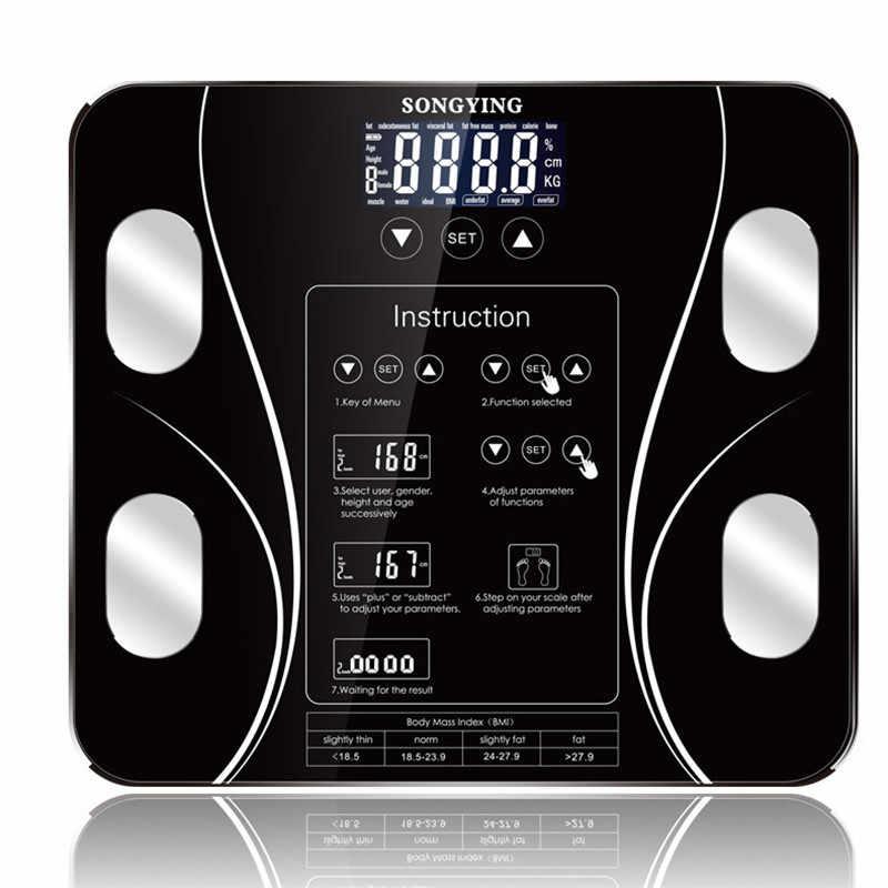 Quente banheiro corpo gordura b mi escala digital peso humano mi escalas chão display lcd índice do corpo eletrônico inteligente pesando escalas