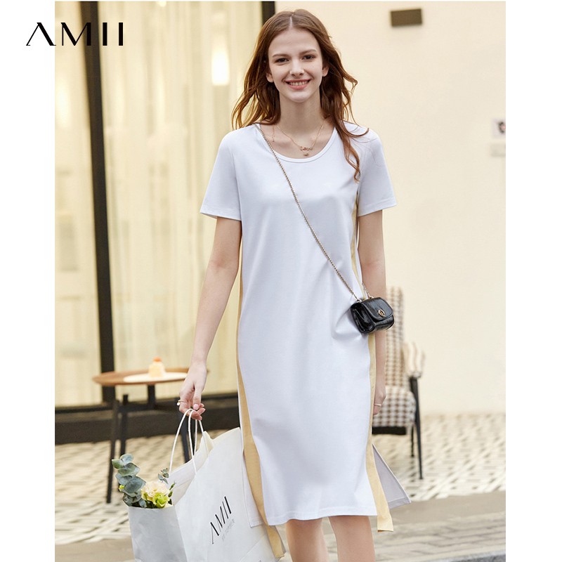 Amii 2020 Summer New Casual Short Sleeve O-Neck Dresses Patchwork Fashion Solid Loose Female Straight Dress 11940212