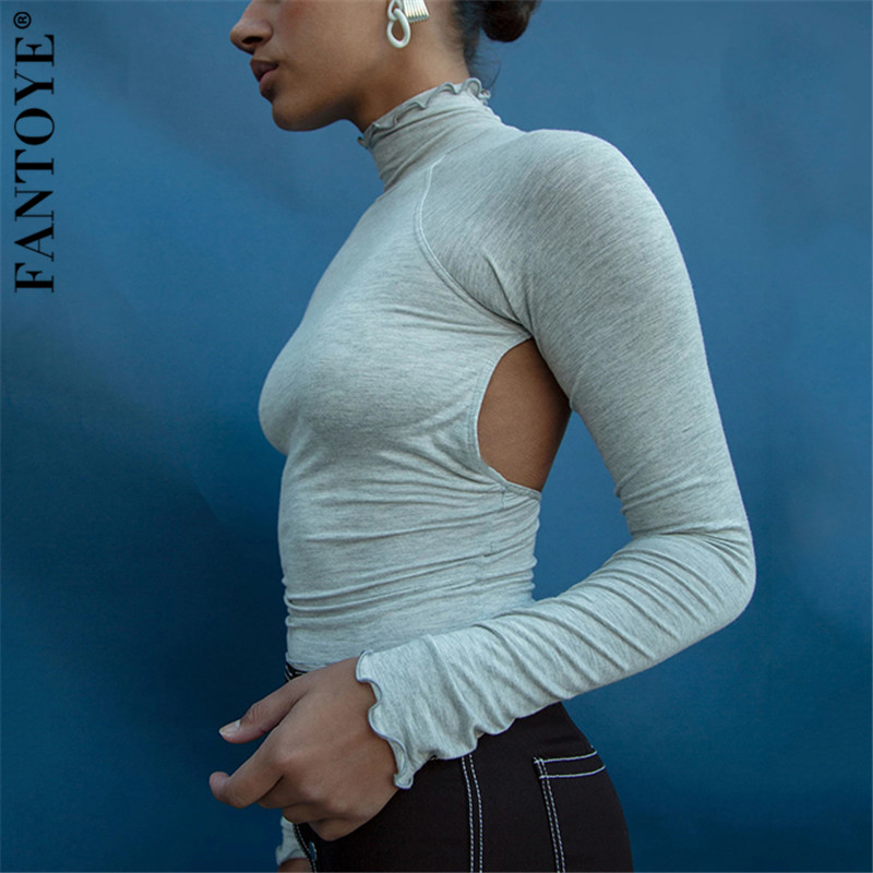 FANTOYE Sexy Backless Long Sleeve White Top Tee Women 2019 New Turtleneck Basic Bodycon Tops For Women Streetwear Hot Crop Tops