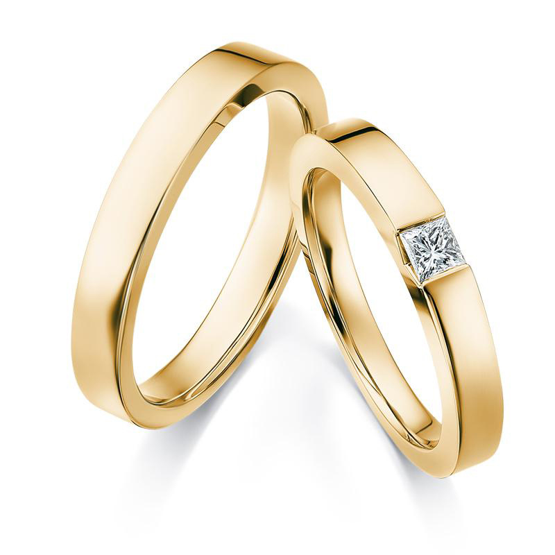 Simple Elegant 18k Real Solid Genuine Gold Diamond Wedding Proposal Rings Bands For Women Men Lover Couple Bride Groom Jewelry Rings Aliexpress