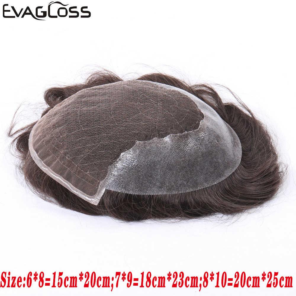 EVAGLOSS Herren Toupet Französisch Spitze Dünne PU Remy Menschliches Haar männer Perücke Haar Stück Einheit Haar System für Mann haar Prothese Männlichen Perücke
