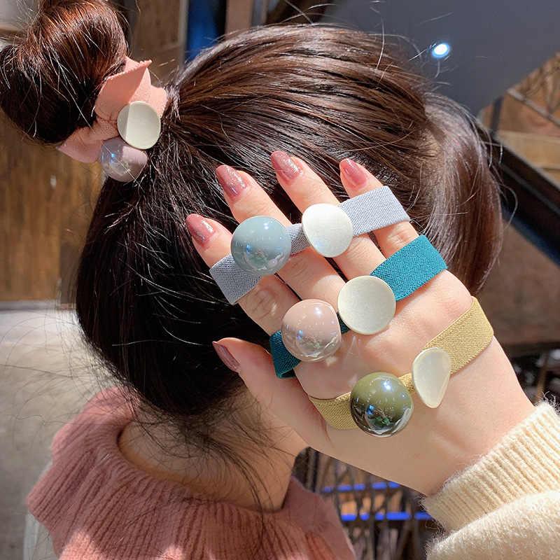 ผู้หญิงสีชมพูผมสีสัน Scrunchies ผู้ถือหางม้าสาวกระต่าย Hairband ยืดหยุ่นยางเชือกสุภาพสตรีอุปกรณ์เสริมผม