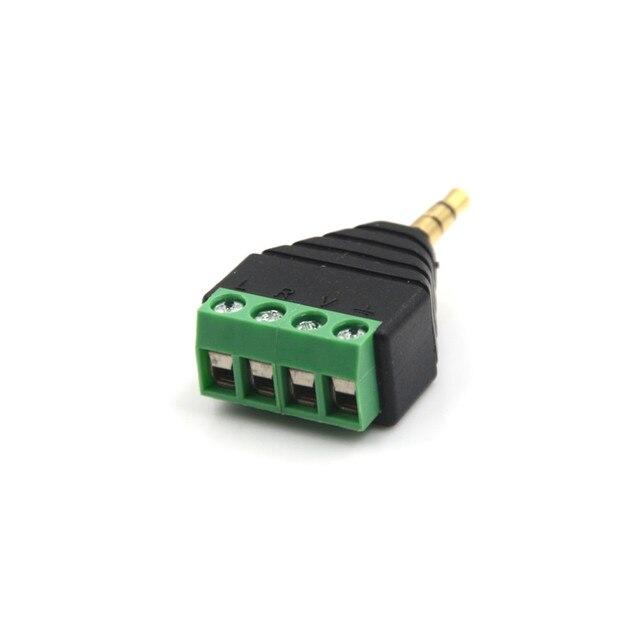 3.5mm męski 4 zacisk pinowy wtyczka blokowa złącze wideo AV Balun 3.5mm 4-biegunowy stereofoniczny męski na AV złącze śrubowe złącze Stereo