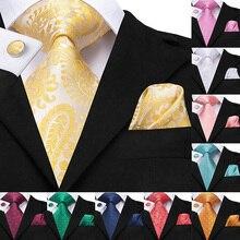 Fashion Gold Silk Tie For Men Designer Jacquard Paisley Pattern Formal Business Wedding Party Hanky Cufflink NecktieSuit