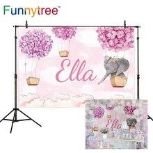 Funnytree background for photo studio cartoon pink sky elephant flower hot air balloon baby shower custom photography backdrop