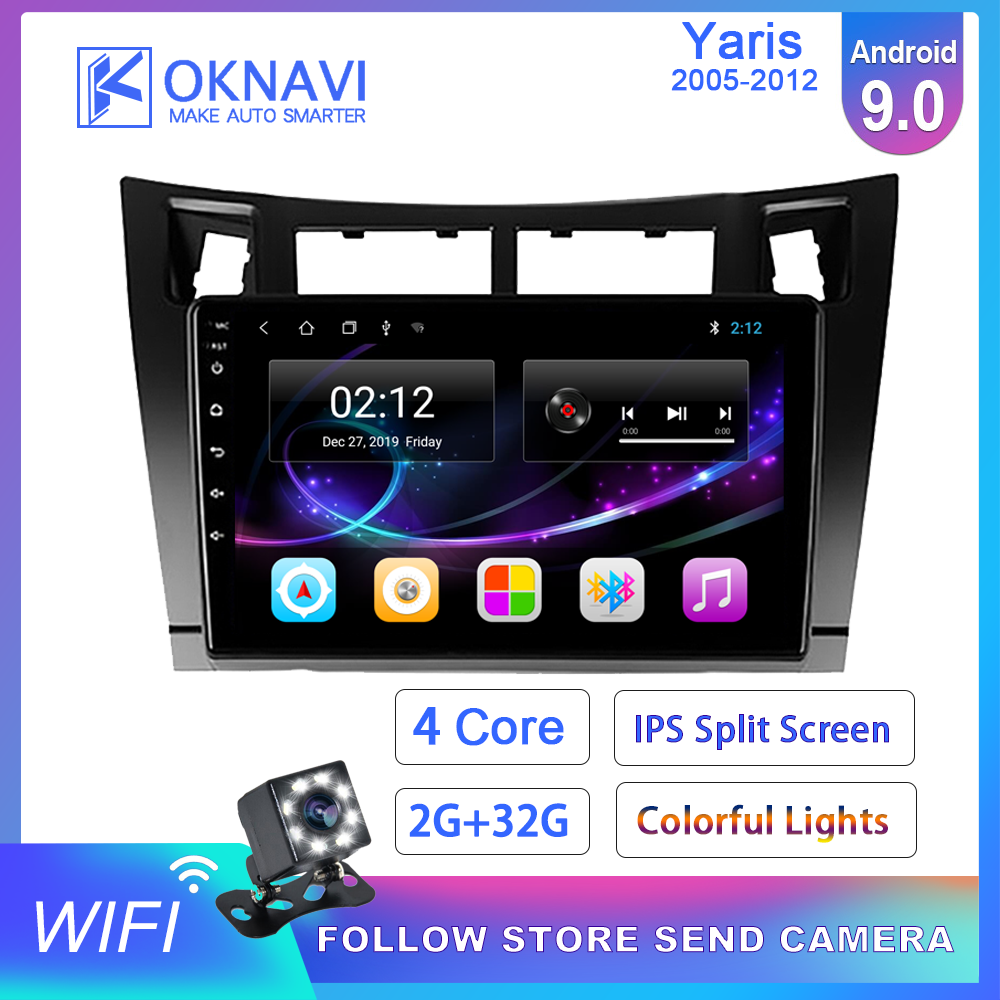OKNAVI For Toyota-y Yaris 2005-2012 Android 9.0 9 Inch Car Multimedia DVD Player GPS Navigation Bluetooth 2din Autoradio Antenna