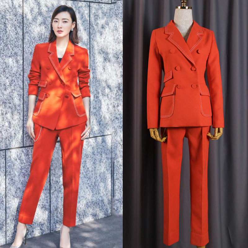 Women's Suit Orange Double-Breasted Slim Thin Women's Suit 2-Piece Blazer With Pants Women's Business Casual Professional Wear