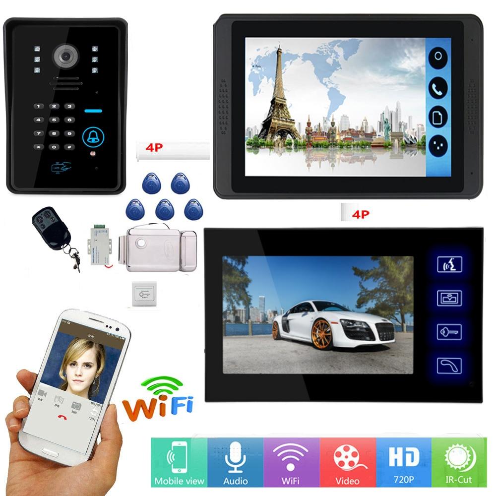 7 Inch Wired Wifi Video Door Phone Doorbell Intercom Kit 2 Indoor Monitor 1 Outdoor RIFD Camera Night Vision