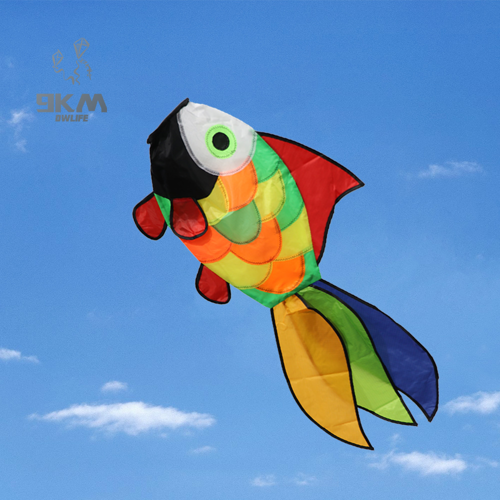Nylon Kite Windsock Decorative Rainbow Fish Kite Windsock Families Outdoor Spinner for Garden Backyard Camping Kids Toys