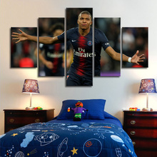 Famous Football Player 5 Pieces Paris Saint-Germain Mbape Posters Canvas Paintings Wall Art Sports Print Picture Boys Room Decor