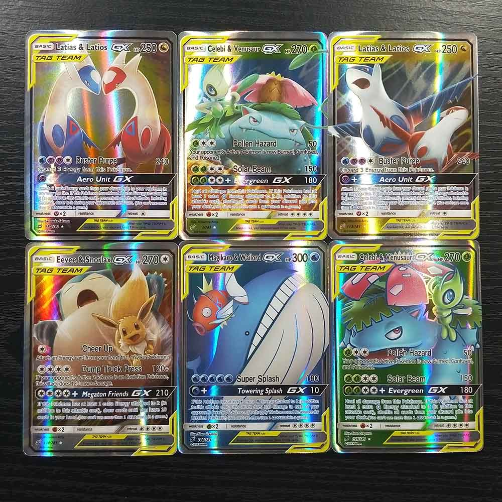 TAKARA TOMY 200 Flash Cards SUN MOON TAG TEAM 194 GX 6 Trainer Collections Shining Pokemon Card Board Game Children Toys