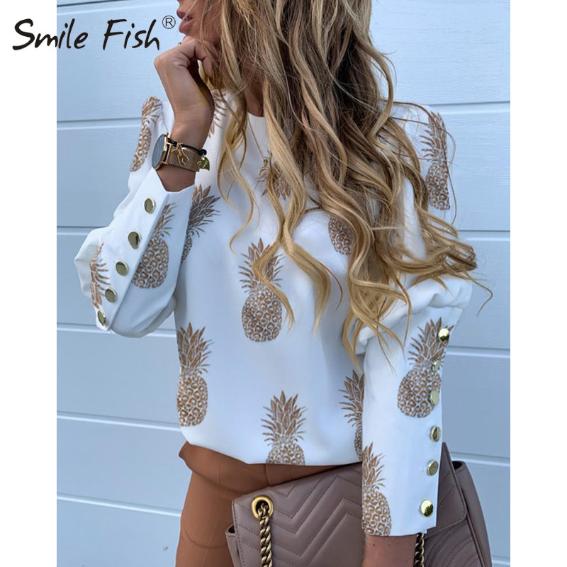 Buttons Puff Sleeve Shirts Letters Pineapple Chain Printed Top Women Autumn White Blouses Long Sleeve Spring Blusas Oversize 3XL