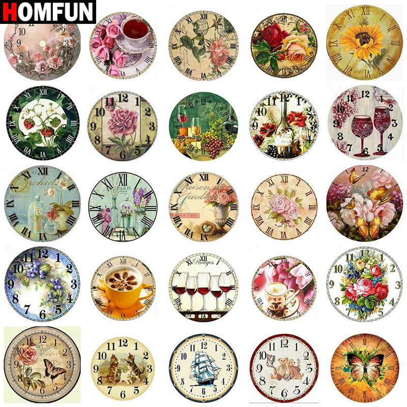 HOMFUN Kit de bordado de diamantes 5D de costura, pintura Diy de punto de cruz con paisaje, reloj con diseño de flores y animales, regalo para decoración del hogar