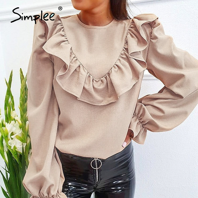 Simplee Elegant Ruffled O-neck Women Blouse Shirt Autumn Puff Sleeve Solid Female Top Blouse Casual Streetwear Ladies Top Shirt