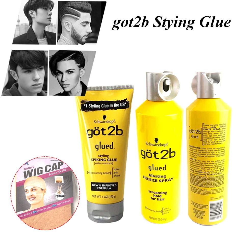 Got 2b Spray Human Hair Styling Gel Got2b Spray Glued 12 Oz / 6 Oz Freeze Spray Ultra Glued Invincible Styling Hair Gel 1.25oz