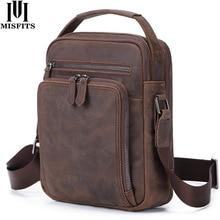 MISFITS Men Messenger Bag Genuine Leather Fashion Shoulder Travel Crossbody High Quality Casual Handbags For 9.7 Ipad