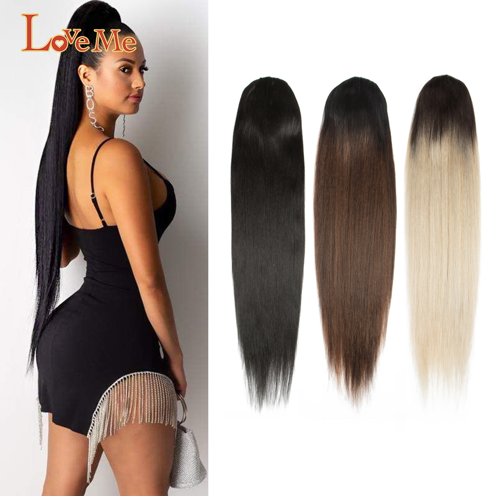 LOVE ME Long Straight Ponytail Hair Natural Ombre Synthetic Straight Elastic Drawstring Ponytails Clip in Hairpiece Free Ship